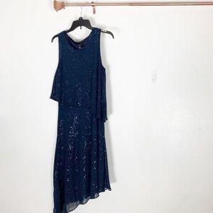 Evening dress Navy blue with glitter sprinkles